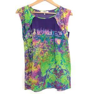 TIBI | Silk Tie Dye Cuffed Sleeve Blouse Multi
